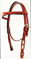 Billy Cook Rawhide Laced Basket Stamped Cowboy Headstall Leather Horse Tack New