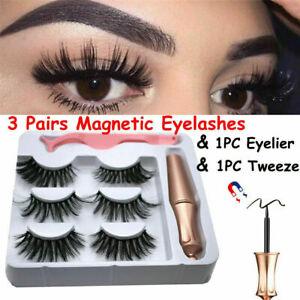 3 Pairs Set Waterproof Magnetic Eyeliner with Eyelashes and Tweezer Long Lashes
