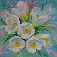 "WHITE TULIPS 24X24"" Spring Flowers Hand Painted by Nadia Bykova Realism Flowers"