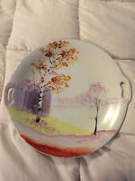 VINTAGE JAPAN NIPPON HAND PAINTED LEAF TREE FOREST FINE CHINA PLATE DISH