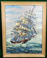 Ocean Clipper Finished Paint by Number PBN Sailing Ship Nautical Maritime Framed