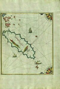 """Ikaria -Sultans book - Gold Accents by hand Archival Print-image size:12x16"""" A3"""