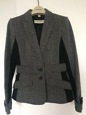 BURBERRY LONDON GREY AND BLACK FITTED BLAZER SIZE 6