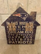 "NFL NEW ENGLAND PATRIOTS 12"" HOUSE SIGN W METAL HOOK MADE IN THE USA"