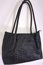 Black Faux Leather Handbag Woven Tote Bag Shoulder Bag Soft Feel Large Size NEW