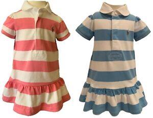 Ralph Lauren baby girls rugby stripe cotton dress 3 6 9 18 24 genuine outlet