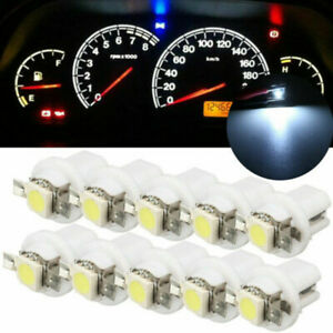 10x T5 B8.5D 5050 1SMD Car White LED Dashboard Dash Gauge Instrument Light Bulbs
