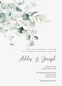 Eucalyptus Soft Spray Wedding Invitations 50
