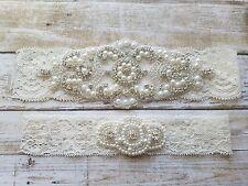 Wedding Garter Set, Bridal Garter Set, Crystal Garter Set - Ivory Lace