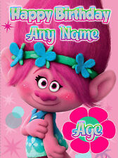 - TROLLS MOVIE POPPY- PERSONALISED CHILDREN'S DAUGHTER NIECE  BIRTHDAY CARD