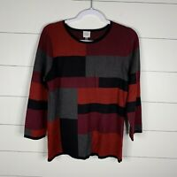 Cupio Womens Multi Color Block Size Large 3/4 Sleeve Boat Neck Knit Sweater