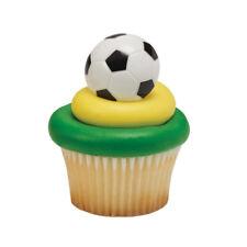 Soccer Ball cupcake rings (24) party favor cake topper