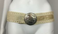 Vintage Details by Patricia Green Ecru Woven Wide Belt Silver Medallion Buckle M