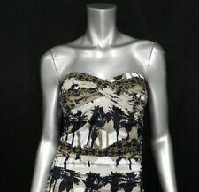 TOMMY BAHAMA NEW Brown/Black Print Strapless Twist Tankini Swimsuit Top sz S