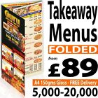Takeaway FOLDED Colour A5, A4 or A3 Printed Menus / Leaflets / Flyers 150gms