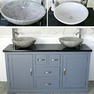 Grey Painted Bathroom Vanity Black Quartz Top Stone Basin Choice 603GBQSBC
