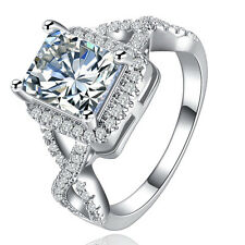 Fashion Jewelry Lady/Womens White Sapphire Silver Filled Wedding Ring Size 9