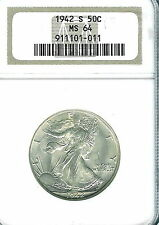 1942-S Walking Liberty Half Dollar : NGC MS64