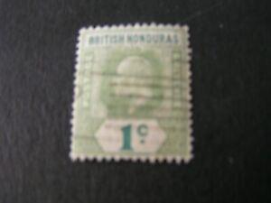 BRITISH HONDURAS, SCOTT # 62, 1c VALUE GREEN 1904-06 KEV11 ISSUE USED