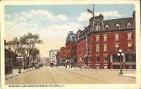 Rutland, VERMONT - Bardwell & Merchants Row - trolley, old cars, signs
