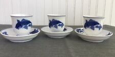 Chaoan Chinese Koi Karp White Porcelain Cobalt Blue 3 Teacup Saucer Set