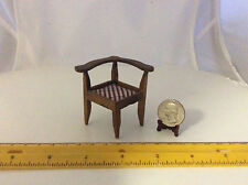 1/12 SCALE MINIATURE CORNER CHAIR LOVELY VINTAGE VARNISHED FINISH W PLAID SEAT