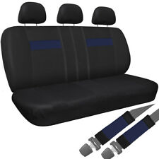Car Seat Cover Blue Black 8pc Set Bench for Auto Belt Pad/Detachable Head Rest