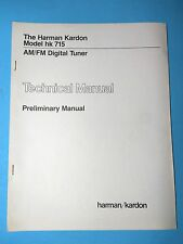 Harman Kardon Service Manual - Model HK 715 - Original - Technical - Tuner
