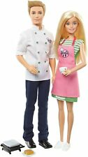 Barbie Ken Cafe FHP64 2 Pack Dolls Chef Bake Cook Post