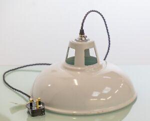 Early 20th Century Original White Enamel Shade Coolie Pendant Light Lamp