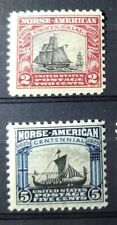 US Stamps 620-621 set Mint Never Hinged MNH 1925 Issue Norse American
