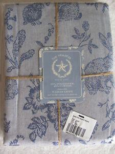 Rachel Ashwell Prairie Bunny Easter Jacquard Tablecloth-Blue-60 x 84 Oblong-New