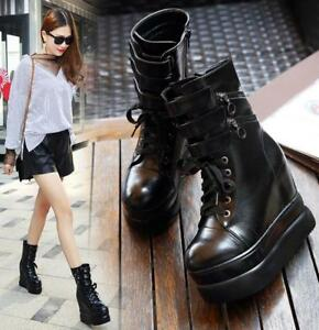 Women High Hidden Wedge Platform Riding Boots Creepers Punk Party Sexy Zip Shoes
