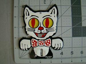 cat license plate topper Felix topper stamped steel Felix the cat topper eyes