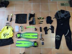 Scuba semi dry wet suit and equipment