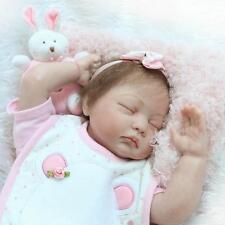 "22""Silicone bebe Reborn sleepy Baby girl doll Soft Vinyl Lifelike Newborn gift A"