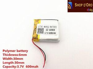 Batteria lipo ai polimeri di litio 3,7v 600mAh 603030 per rc fai da te