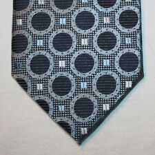 NEW Bergamo New York Silk Neck Tie Metallic Light Blue & Dark Blue Circles 1529