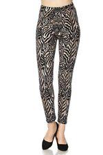 Women's Animal Print  Plus Size Peachskin Printed Leggings O/S (14-20) Zebra