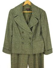Escada 3 Piece Metallic Tweed Double Breasted Jacket Wide Leg Pant/Skirt Suit 42