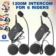 2x V6 BT Bluetooth Interphone 1200m Motorcycle MotorBike Helmet Intercom Headset