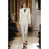 Ivory Women Business Suits Formal Office Suits Work Double Breasted Trouser Suit