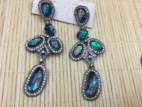 "Rhinestone Crystal Waterfall 4/"" Earrings Runway Pageant  Alessandra Rich Style"