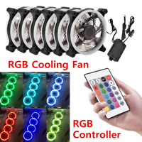 3/6 PCS RGB LED Quiet Computer Case PC Cooling Fan 120mm with Remote Control Lot