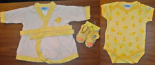 bon bebe' Duckie Beach / Bathrobe One Piece Outfit & Slippers Size 0-6 Months
