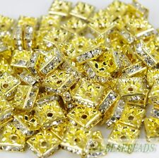 100pcs Top Czech Crystal Rhinestones Squaredelle Spacer Beads 5mm 6mm 8mm 10mm