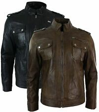 Mens Short Zipped Military Army Style Real Leather Jacket Black Brown