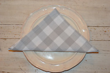 NAPKINS, 100% Cotton Country Check Dove Grey / White Pack Of 4, 41x41cm 16x16""