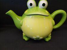Grabbit! So Sweet Burton & Burton Tody The Toad 2005 Green Frog Tea Pot 32 Oz