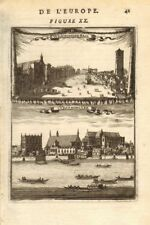 LONDON. 2 views of Westminster. Hall, Abbey, River & boats. MALLET 1683 print